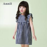 【3件3折:59.7】安奈儿童装宝宝连衣裙女夏装公主裙新款0-2岁小童格子背心裙