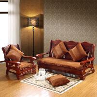 实木沙发垫加厚毛绒防滑三人沙发坐垫连体长椅垫子联邦椅垫可拆洗s 乳白色 纯拼(咖啡)