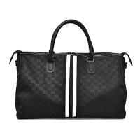短途旅行包女手提鞋位大容量旅游行李包轻便韩版旅行袋运动健身包 字母黑色 有鞋位 大