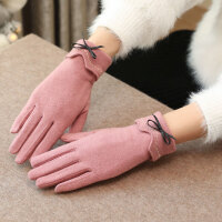 羊毛手套女士冬季加绒加厚羊绒保暖韩版学生可爱五指分指可触屏