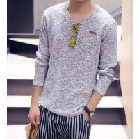 韩版修身 针织衫V领时尚线衣潮新款个性男士休闲长袖毛衣