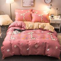 床上四件套棉网红200x230被套床单小清新简约宿舍三件套1.5米k 小鹿 粉