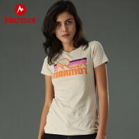 Marmot/土拨鼠女款柔软舒适轻便针织面料圆领短袖T恤