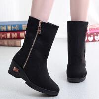 冬季布鞋女加绒加厚保暖女短靴雪地靴坡跟厚底女靴子