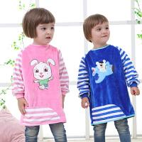 儿童水晶绒加厚宝宝罩衣婴儿围兜反穿衣吃饭衣护衣小孩围裙秋冬款