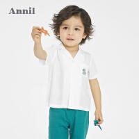 【1件5折价:84.5】安奈儿童装儿童衬衫2021春夏装新款婴儿宝宝长袖上衣3岁男童衬衣