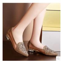 邻家天使女单鞋中跟低跟舒适休闲水钻网纱浅口粗跟尖头女鞋N78