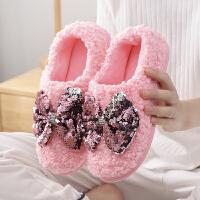 棉拖鞋秋冬季女士时尚蝴蝶结亮片家居棉拖包跟居家保暖月子鞋