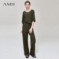 【预估价101元】Amii极简洋气港味潮T恤休闲长裤女2019夏季新款莫代尔棉绑带套装