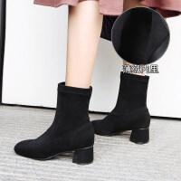 网红短靴女2019冬季新款女鞋瘦瘦靴袜靴粗跟高跟加绒百搭马丁靴女