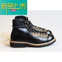 新品上市短脸靴男欧美机车马丁工装鞋女日系休闲复古高帮真皮短靴 2995黑色