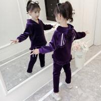 女童套装秋冬2019新款韩版儿童装中大童金丝绒洋气可爱两件套潮衣MYZQ235