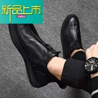 新品上市【加绒内里】18冬季新款真皮男士休闲皮鞋牛皮拉链