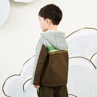 【秒杀价:225元】马拉丁童装男大童外套春装2020年新款拼接撞色连帽卫衣外套