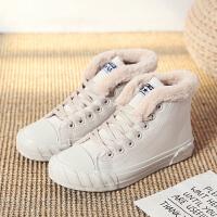 帆布鞋子女冬季新款加绒加厚保暖毛毛鞋韩版百搭学生厚底高帮棉鞋
