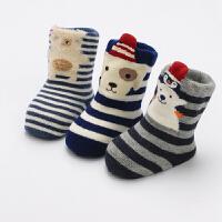 婴儿袜子秋冬加厚保暖1岁0-3儿宝宝冬季加绒毛巾长筒棉袜