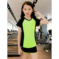 女童运动套装夏季中大童儿童女大童短袖速干衣跑步健身休闲两件套
