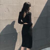 【秋冬新品】高档品牌性感女装2019新款秋冬季显瘦气质收腰裙子打底露背紧身包臀连衣裙
