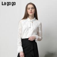 【清仓5折价179】Lagogo2019春季新款衬衫白色时尚女简约名媛风长袖上衣IACC431A08