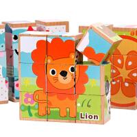 儿童早教益智力玩具2-3-4-5岁六面画9粒立体拼图3D积木质制