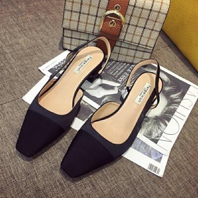 一字跟高跟鞋粗跟绸缎面方头浅口单鞋女中跟包头凉鞋女风