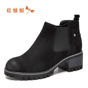 红蜻蜓女鞋秋冬休闲鞋鞋子女女靴子短靴WNC7095