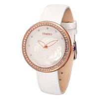 时尚闪钻山茶花真皮石英女表 韩版女士手表腕表