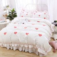 ins风小清新公主床上四件套全棉纯棉可爱少女粉色甜美荷叶边床裙4