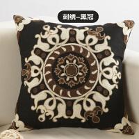 美式纯棉刺绣抱枕套不含芯正方形风沙发抱枕靠垫客厅靠枕