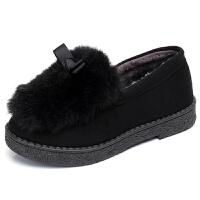 秋冬季新款百搭毛毛女鞋豆豆底加绒滑保暖时尚平跟厚底女棉