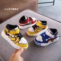 儿童高帮板鞋 2019秋季韩版拼色男童运动鞋女童魔术贴休闲鞋