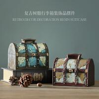 创意美式复古怀旧行李箱存钱罐家居店铺装饰品橱窗道具拍摄摆件设