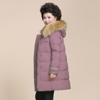 中老年棉衣女中长款保暖棉袄2019新款中年人妈妈冬装外套