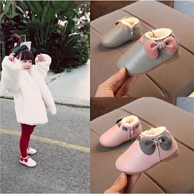 秋冬女童皮鞋公主鞋女宝宝加绒保暖棉鞋婴儿软底学步鞋1--3-5岁半