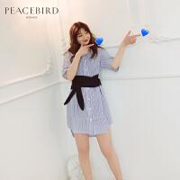 条纹衬衫连衣裙春2019新款蓝色短袖修身中长款连体裙女太平鸟女装