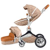婴儿推车高景观可坐可躺避震婴儿车可旋转进口手推车 半月花旋转推车+皮款睡篮