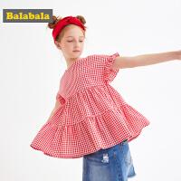 巴拉巴拉儿童短袖衬衫女童衬衣中大童夏装新款童装维希格上衣