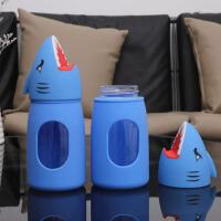 鲨鱼卡通玻璃杯手机支架创意多功能耐高温儿童成人水杯礼品定制杯360ML 蓝色 360ML