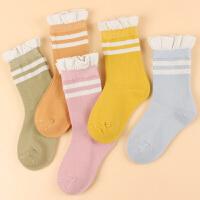 5双秋冬儿童中筒袜子1-12岁学生女童袜加厚保暖淡彩精梳棉花边
