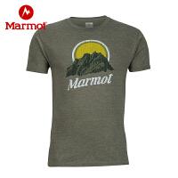 Marmot/土拨鼠春夏新款户外透气圆领柔软舒适棉短袖男T恤_F54190