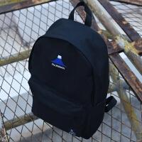 日韩简约风帆布双肩包学生书包富士山刺绣旅行背包休闲时尚电脑包