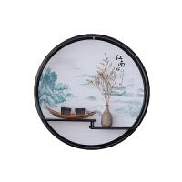 中式家居餐厅禅意墙壁挂件玄关墙面装饰品客厅铁艺墙上创意置物架 翠云台江南(配 木船+瓷瓶)50cm