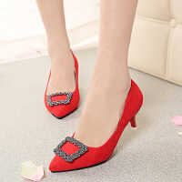 小跟女鞋浅口尖头绒面水钻细跟中跟3-5cm红色婚鞋高跟鞋单鞋皮鞋
