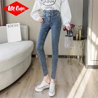 Lee Cooper新品个性双裤腰微弹修身显瘦柔软显高舒适牛仔裤女