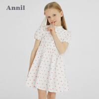 【2件4折价:175.6】安奈儿童装女童短袖连衣裙2021新款薄款女孩公主裙纯棉波点裙子夏