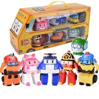 警察珀利 变形警车珀利警长救援队儿童玩具车Poli机器人玻利波利警察6全套 6只豪华版
