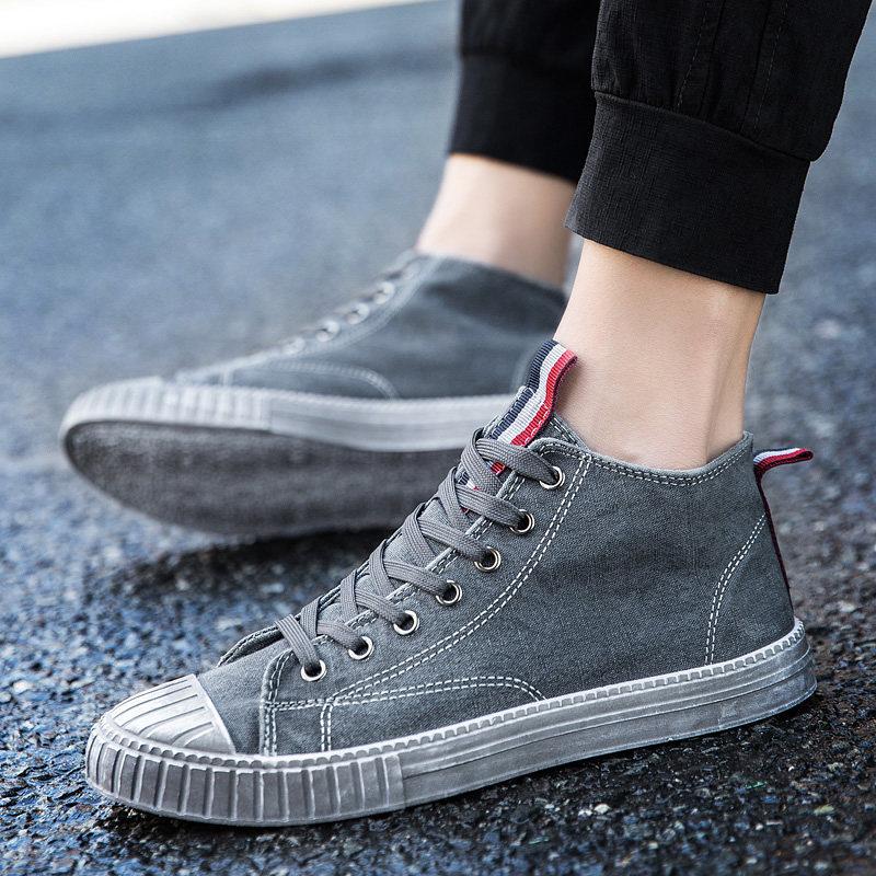 韩版夏季高帮鞋潮流透气帆布鞋男鞋子潮鞋日常休闲短靴高筒
