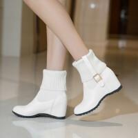 韩版百搭毛线绒边内增高两穿女鞋子秋冬通勤高跟短靴大小码马丁靴 白色 单靴