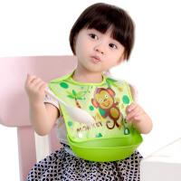 宝宝吃饭围兜接饭软加大号孩子用餐软塑料免洗防水喂饭辅食围兜