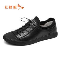 红蜻蜓男鞋休闲皮鞋秋冬休闲鞋子男板鞋WTA8020